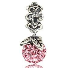 Sterling Silver 925 Cubic Zirconia Crystal Flower Dangle Bead For Charm Bracelet