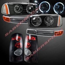 Black Halo Headlights + Park Signal + Taillights for 1999-2003 Sierra 1500 2500