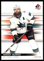 2019-20 UD SP Authentic Limited Red Parallel #63 Brent Burns - San Jose Sharks