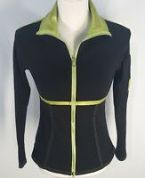 Se Ku Women's Full Zip Jacket Size Med Made in USA  Black with Shiny Green Trim