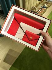 Tory Burch Carter Envelope Clutch Trio Set 67325 Brilliant Red Pink Gift Bag NWT