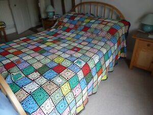 Vintage Style Handmade Granny Square Crochet Throw/Blanket Large 80 x 120 Inches