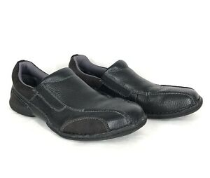 Skechers Loafers Slip On Comfort Shoes 12 Black Pebbled Leather Rubber Sole