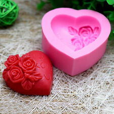 s: Silicone Rose Flower I LOVE YOU Loving Heart Mould Fondant Soap Cake Mold DIY