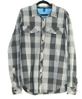 Rvca Men's Long Sleeve Button Up Grey And White Checked Shirt Size L