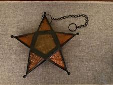 Five Pointed Star Hanging Glass Metal Tea Light Candle Holder Orange