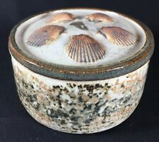 Vintage Studio Pottery Shell Star Sand Grain Round Trinket Box by Lisa Reynolds