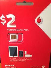 2 x Vodafone $2 Prepaid Tri CUT-Sim - WILL WORK IN ALL DEVICES