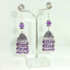 Earrings natural purple amethyst gemstone handmade faceted beaded jewelry