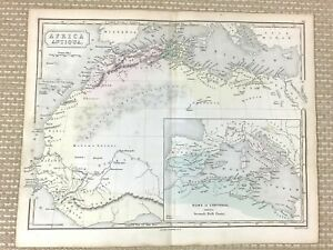 1861 Antique Map Ancient Africa Antiqua Rome Carthage Hand Coloured Engraving
