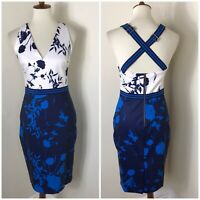 Ted Baker Floral Sheath Dress Size 2 US 4 6 Blue NWOT