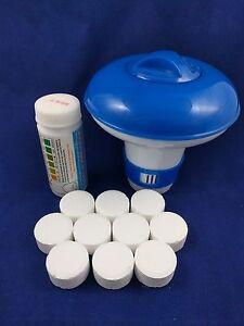 10x20g Chlorine Tablets Pool Hot Tub Spa + Dispenser + Testing strips FULL KIT!