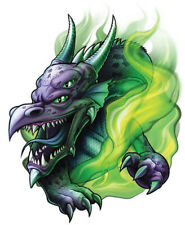 """""""Dragon"""" Temporary Tattoo, Purple Horned Dragon in Green Flames Fire, USA Made"""