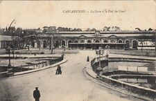 Carte postale ancienne CARCASSONNE AUDE gare et pont du canal timbrée 1916