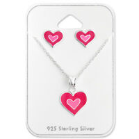 925 Sterling Silver Pink Heart Pendant Necklace & Stud Earrings Gift Set
