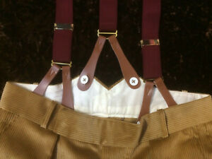 Burgundy Wine Button-on Braces by Tails and the Unexpected 35mm Wide Leather End