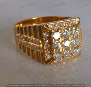 4Ct Round Sim Diamond Men's Cluster Engagement Pinky Ring 14k Yellow Gold Finish