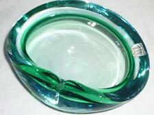 LOVELY RETRO MURANO BLUE GREEN  ART GLASS BOWL TEALIGHT HOLDER 13.5cm LONG
