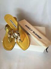 NWB Manolo Blahnik Gold Snake Skin and Leather Sandal Eur 37.5  US 7.5