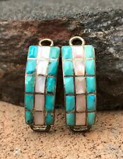 Old Native American Sterling Silver Turquoise Mother of Pearl Women's Watch Tips