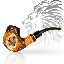 "LION Luxury Smoking Pipe 6"" Carved Wooden Tobacco Pipes Pear Wood Gift for Men"
