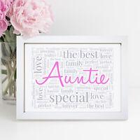 Personalised Family Print Birthday Mothers Day Keepsake Frame Mum Auntie Gift