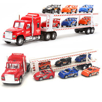 Kids Toy RED Tow Truck 6 Cars Friction Heavy Sports Racer Container Drag Speed