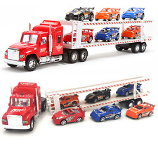 Kids Toy Tow Truck 6 Cars Friction Heavy Sports Racer Container Drag Speed Child