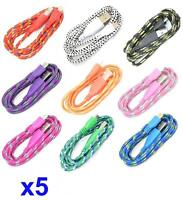 5x 6FT Round Braided Micro USB Data Sync Charger Cable For SAMSUNG, HTC, LG