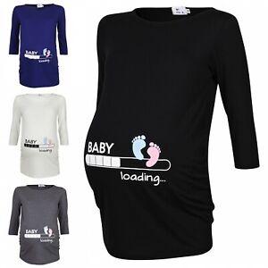 Happy Mama. Woman's Maternity Baby Loading Feet Funny Print T-shirt Top. 549p