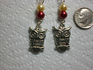 Harry Potter Owl Hedwig  Earrings Dangle Red Gold Silver