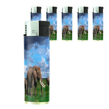 Butane Refillable Electronic Lighter Set of 5 Elephant Design-002 Custom Nature