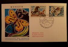 MONACO PREMIER JOUR FDC YVERT   809/10    PONEYS+PAPILLONS     0,30+0,40F   1970