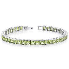 16 CT Princess Green Peridot Sterling Silver Bracelet