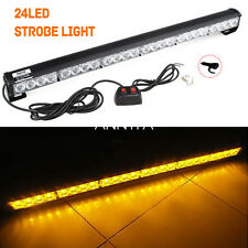 "New 27"" 24 LED  Emergency Warning Traffic Advisor Flash Strobe Light Bar Amber"
