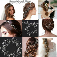 Haarkette Hochzeit Perlen Haarschmuck Kette Haarband Braut Diadem Haargesteck DE