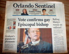 2003 hdln newspaper EPISCOPALIANS PICK 1st openly GAY BISHOP o PROTESTANT CHURCH