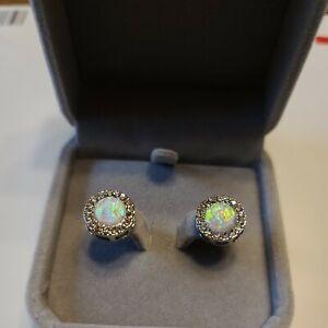 NIB Created Opal Crystal Post Earrings