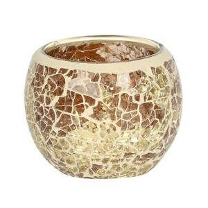 Gold Crackle Glass Candle Holder Height 6.5 cm