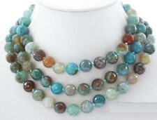 10mm round blue polychrome agate faceted necklace 50''