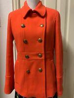 Excellent J CREW Stadium Cloth Nello Gori Orange Red Pea Coat Wool Blend Size 8