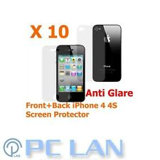 10x Anti-Glare Screen Protector Apple iPhone 4 4S Front + Back FULL BODY