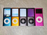 Lot 5 Apple iPod Nano 2nd 4th Gen 4GB 8GB Parts Repair Battery LCD Screen Blue
