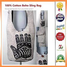 UNIQUE HOBO HAMSA PRINT HIPPY COTTON SLING BAG NEPAL  TRAVEL UNI BAG NATURAL