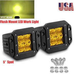 "2x 5""inch Flush Mount Spot Amber LED Work Light Bar Cube Pods Fog Driving SUV US"