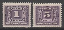 CANADA 1906 POSTAGE DUE 1C AND 5C