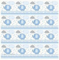 Blue Baby Boy Shower Party SWEET UMBRELLA ELEPHANT GIFT WRAP WRAPPING PAPER