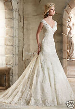 White/Ivory Lace Wedding Dresses Bridal Gown Mermaid Ball Gown Custom Size