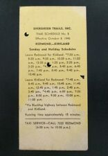 Vintage 1945 Evergreen Trails Inc Bus Time Schedule Card