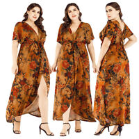 Women Boho Dress Printed Short Sleeve Lace Up V-Neck Plus Size Cocktail Summer